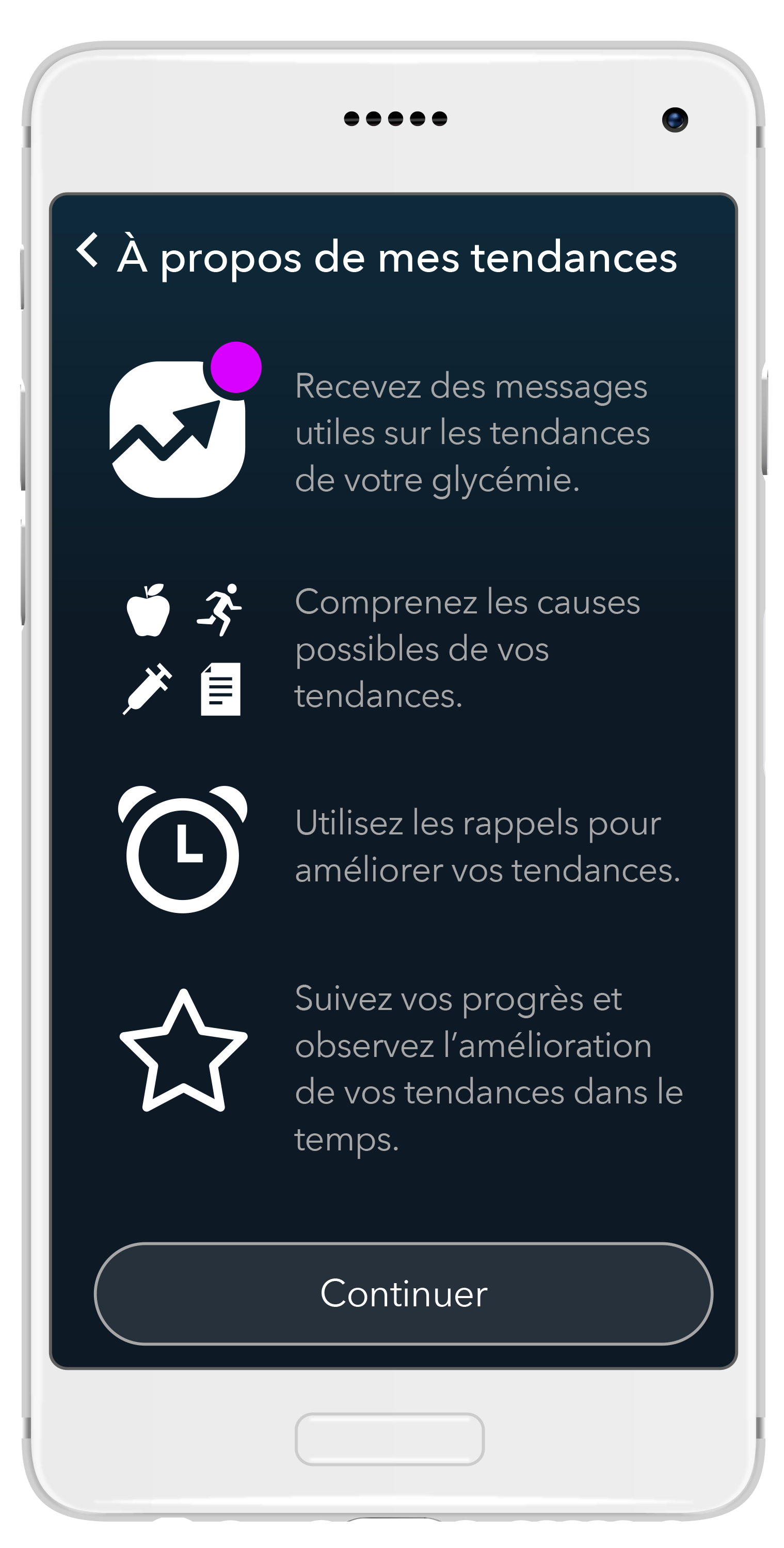 L'application propose des options de programmes de tests personnalisés